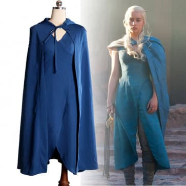 Daenerys Blue Dress Cape Cosplay Costume Games of Thrones Halloween Costume