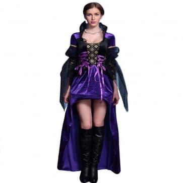 Halloween Masquerade Ball Fancy Evil Queen Purple Dress Costume