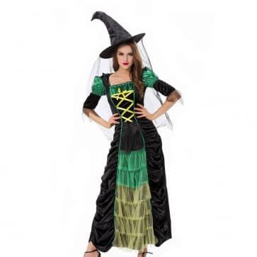 Halloween Masquerade Ball Fancy Witch Green Dress Costume
