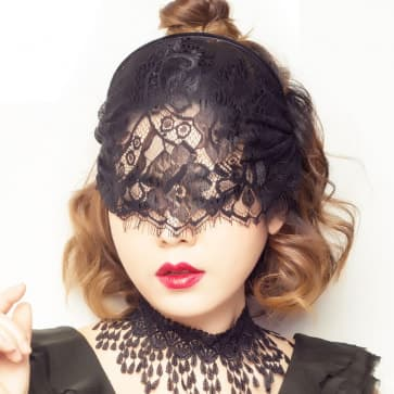Halloween Black Face Mask Lace Floral Pattern Headband Costume