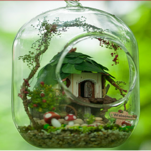 Fairy Tree House DIY Miniature House Model Glass Globe Ornament with Voice Control Led Lights Christmas Gift Idea