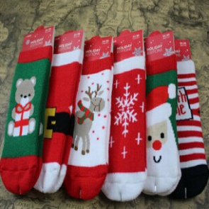 Set of 6 Christmas Holiday Socks Santa Reindeer Snowflakes Toddlers Kids Children