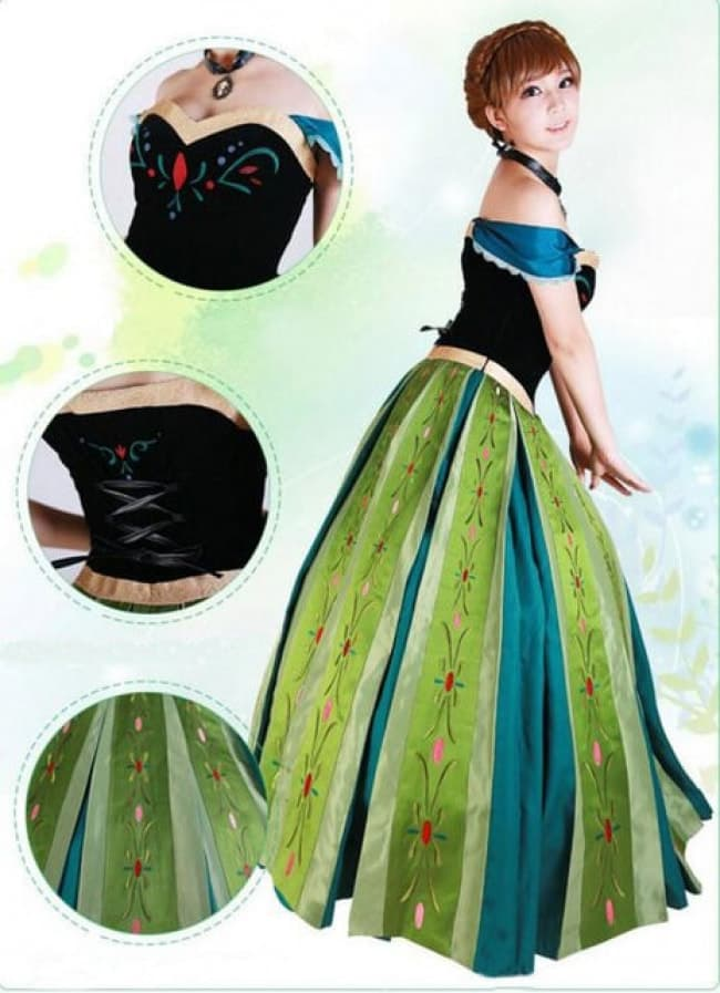 Adelaide bicchiere profondamente  Frozen Anna Green Dress Complete Cosplay Costume For Adults Halloween  Costume   Costume Mascot World